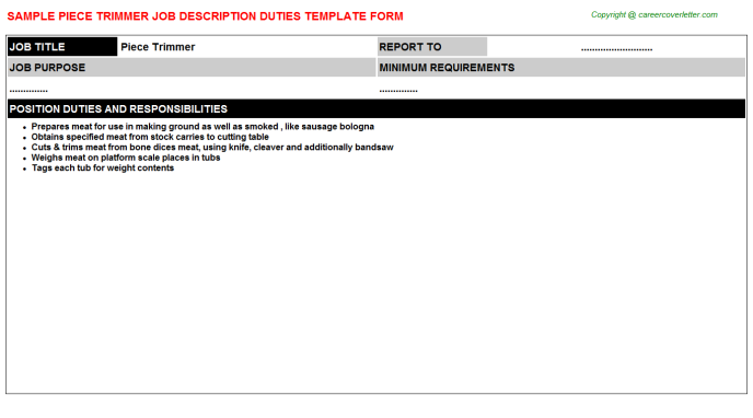 piece trimmer job description template