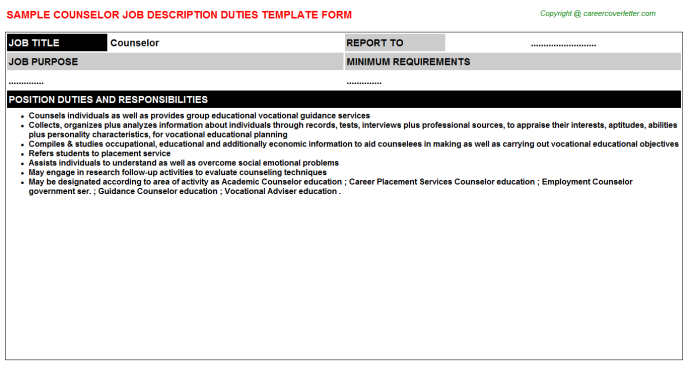 Counselor Job Description Template