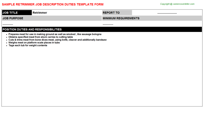 Retrimmer Job Description Template