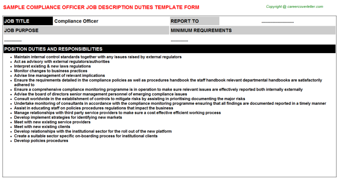 Compliance Officer Job Description Template