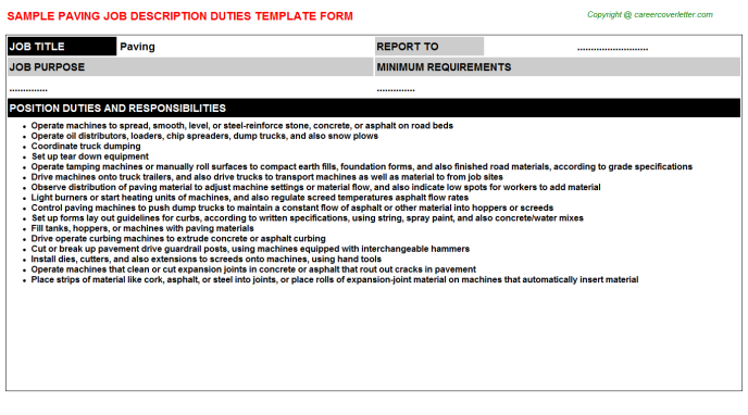 Paving Job Description Template
