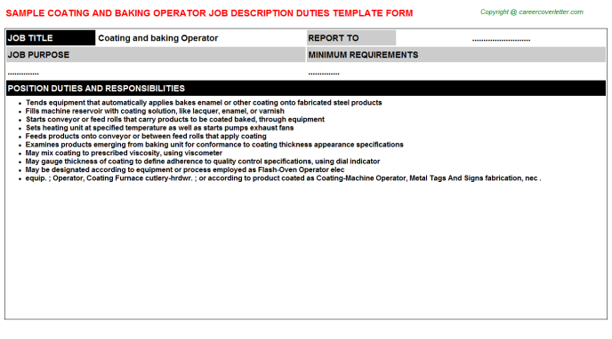 coating and baking operator job description template