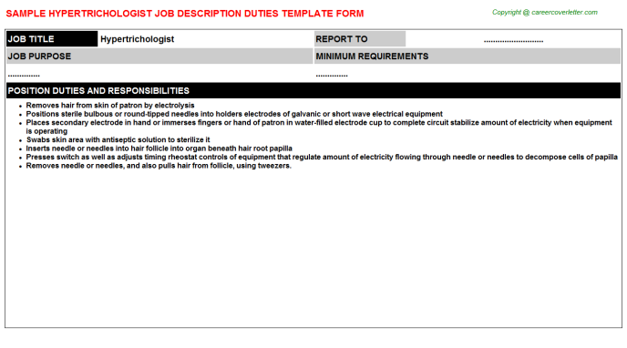 Hypertrichologist Job Description Template