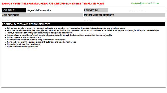 Vegetablefarmworker Job Description Template