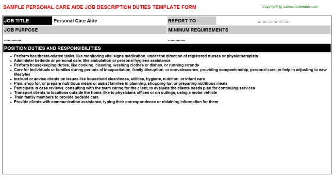 Personal Care Aide Job Description Template