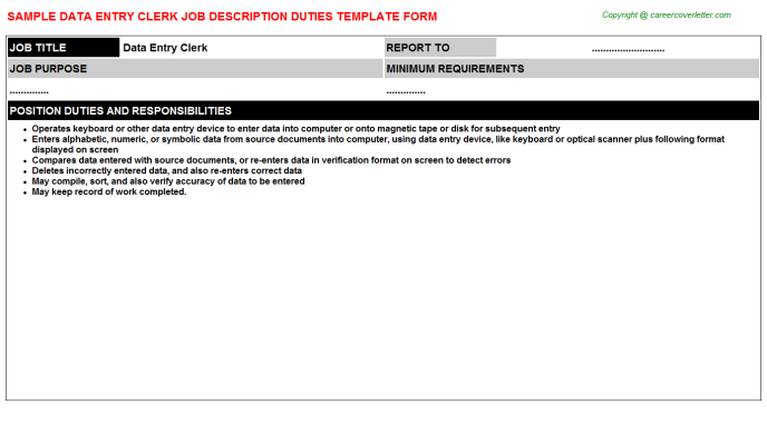 Data Entry Clerk Job Description Template