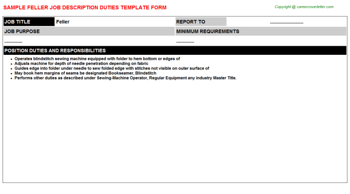 Feller Job Description Template