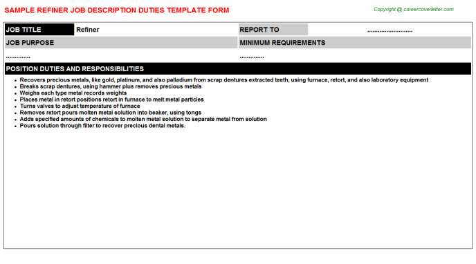 Refiner Job Description Template