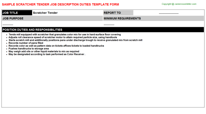 scratcher tender job description template