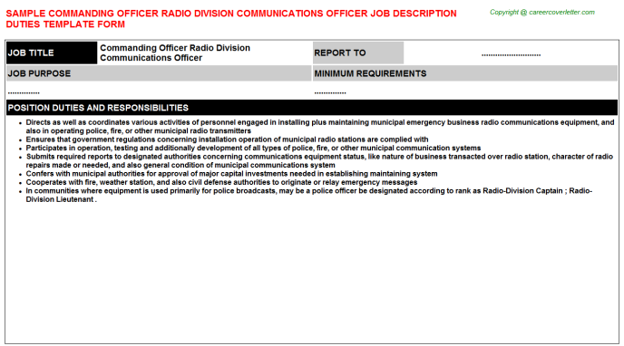 Commanding officer radio division communications officer career job description (#2755)