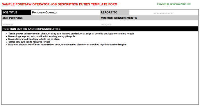 Pondsaw Operator Job Description Template