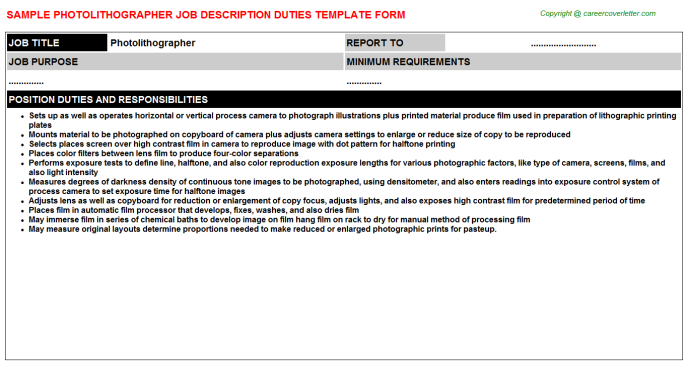 Photolithographer Job Description Template