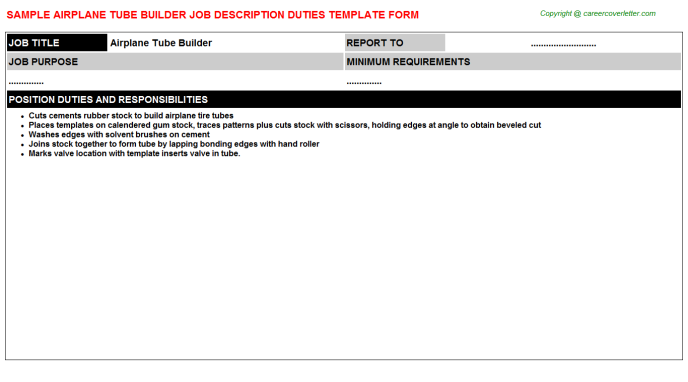 Airplane Tube Builder Job Description Template