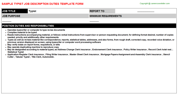 Typist Job Description Template