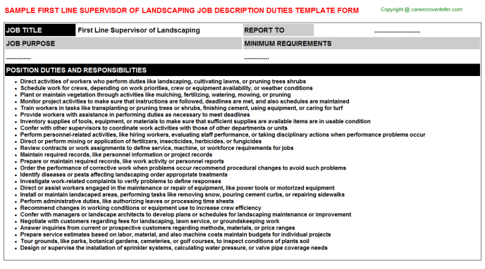 First Line Supervisor Of Landscaping Career Templates Examples