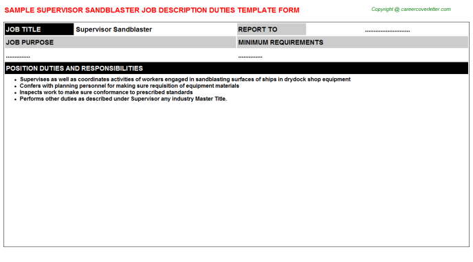 supervisor sandblaster job description template