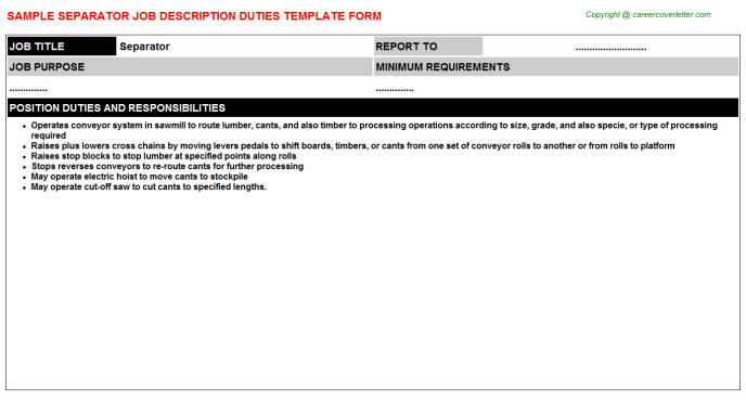 Separator Job Description Template