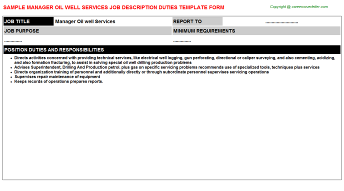 Manager oil well services career job description (#263)