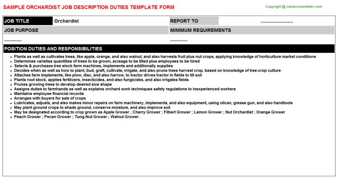 Orchardist Job Description Template