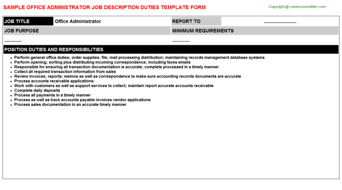 Office Administrator Job Description Template