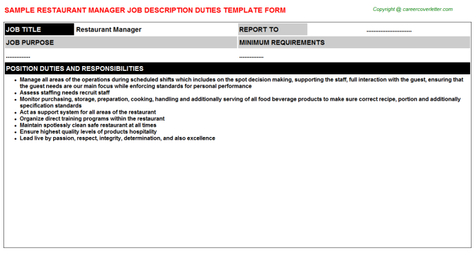 Restaurant Manager Job Description Template