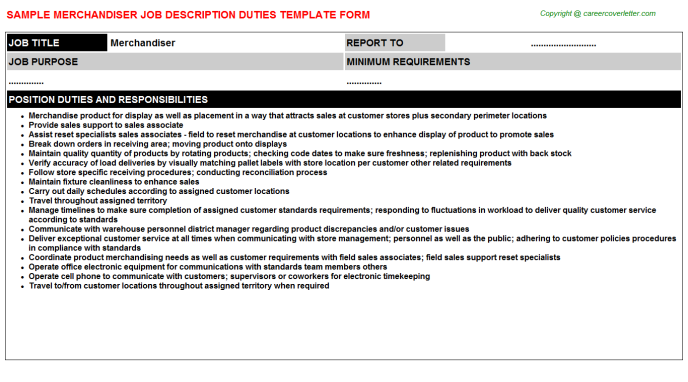 Merchandiser Job Description Template