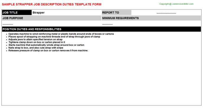 Strapper Job Description Template