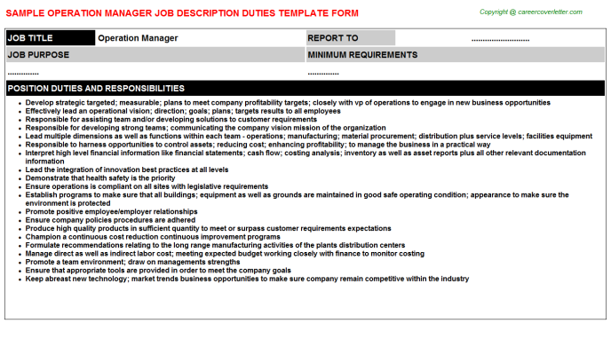 Operation Manager Job Description Template