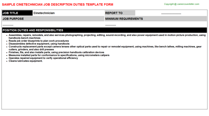 Cinetechnician Job Description Template