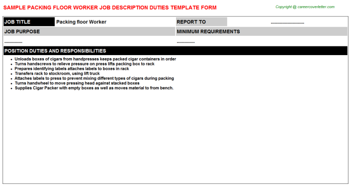 packing floor worker job description template