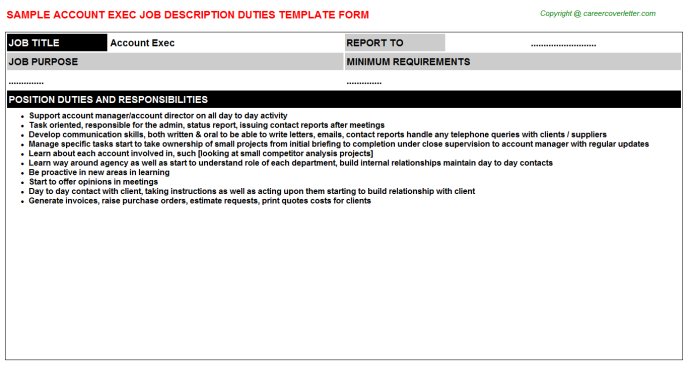 Account Exec Job Description Duties Template