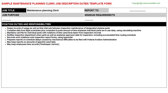 maintenance planning clerk job description template