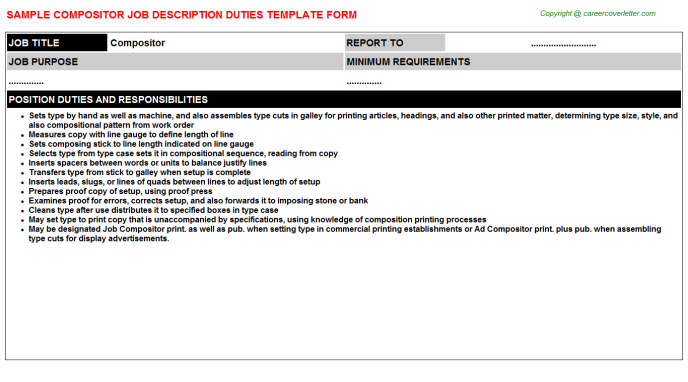 Compositor Job Description Template