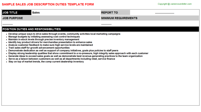 Sales Job Description Template