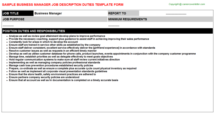 Business Manager Job Description Template