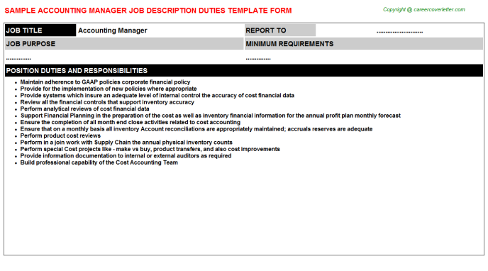 Accounting Manager Job Description Template