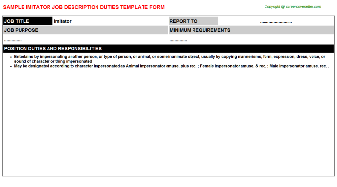 Imitator Job Description Template