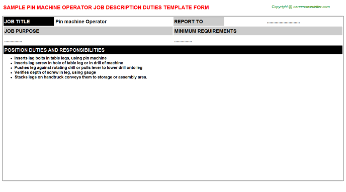 Pin machine Operator Job Description Template