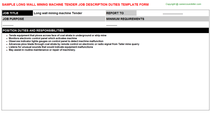 Long wall mining machine Tender Job Description