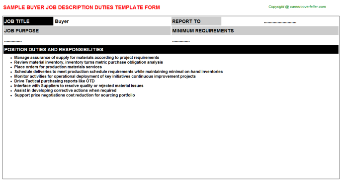 Buyer Job Description Template