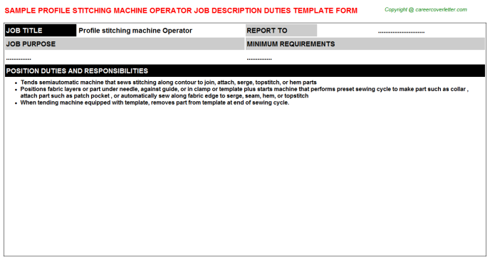 profile stitching machine operator job description template