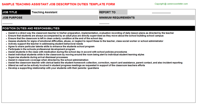 Teaching Assistant Job Description Template