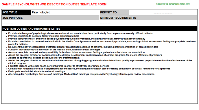 Psychologist Job Description Template