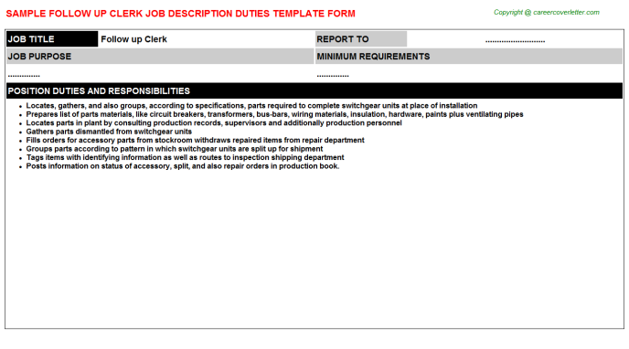 Follow Up Clerk Job Description Template