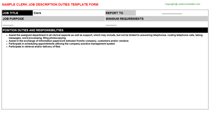 Clerk Job Description Template