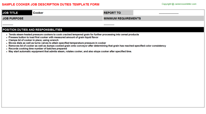 Cooker Job Description Template