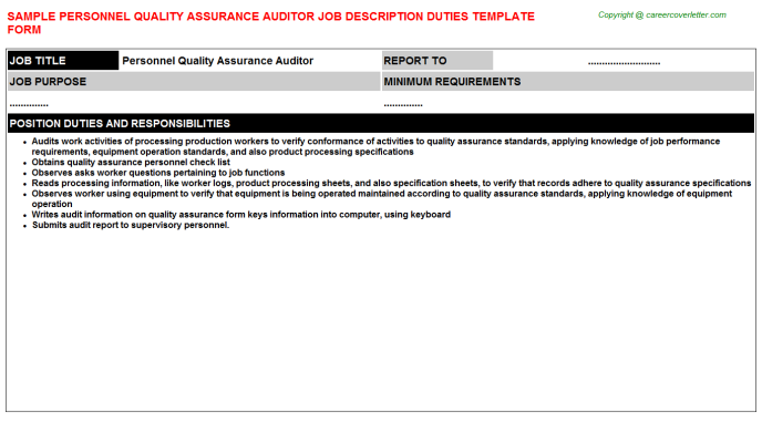 personnel quality assurance auditor job description template