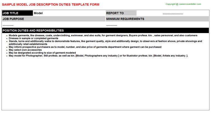 Model Job Description Template