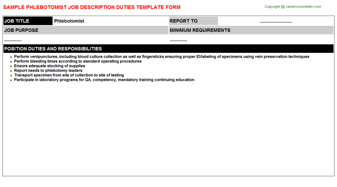 Phlebotomist Job Description Template