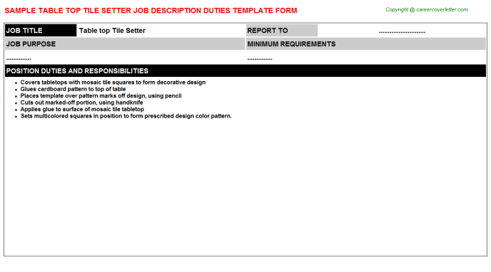 Table Top Tile Setter Job Description Template